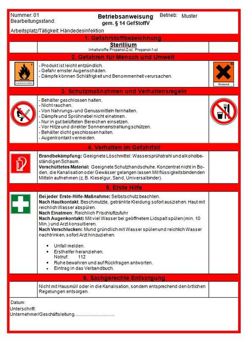 betriebsanweisungen fr gefahrstoffe erstellen wir im rahmen des betreuungskonzepts fr sie auf der basis des vom hersteller mitgelieferten - Gefahrdungsbeurteilung Gefahrstoffe Muster
